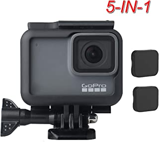 TERSELY【5IN1】Frame + 2 Pack Camera Lens Cap Cover for GoPro 2018 Hero 7 Black/6/5 Housing Border Protective Shell Case Accessories for Go Pro Hero6 Hero5 with Quick Pull Movable Socket Screw