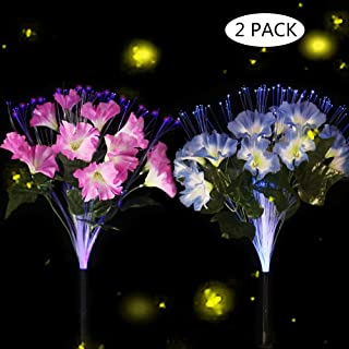New Upgraded Solar Lights with 18 Morning Glory Flowers-Outdoor Solar Garden Stake Lights Multi Color Changing LED Solar Flowers for Garden,Patio,Lawn Path Backyard Decoration(2 Pack Purple and Pink)