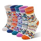 RenFox Calzini invernali di lana da donna,5 paia di calzini caldi invernali da donna,calze da donna con motivo alla moda in stile retrò, calze invernali di cotone da donna, regali di Natale e regali