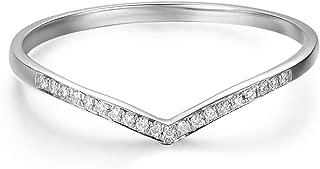 Hafeez Center 14k Gold V Shape Curved Chevron Diamond Wedding Band Ring