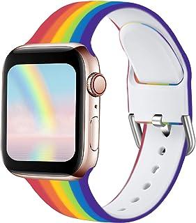 Ouwegaga Compatibel met Apple Watch Bandje 38mm 42mm 40mm 44mm, Zacht Siliconen Klassieke Sport Vervangende Bandje Compati...
