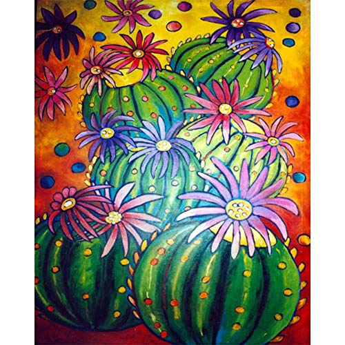 Hathaw 30 x 40 cm DIY redondo de diamante de imitación pintura de cactus cuadro de pared con diamantes de imitación mosaico