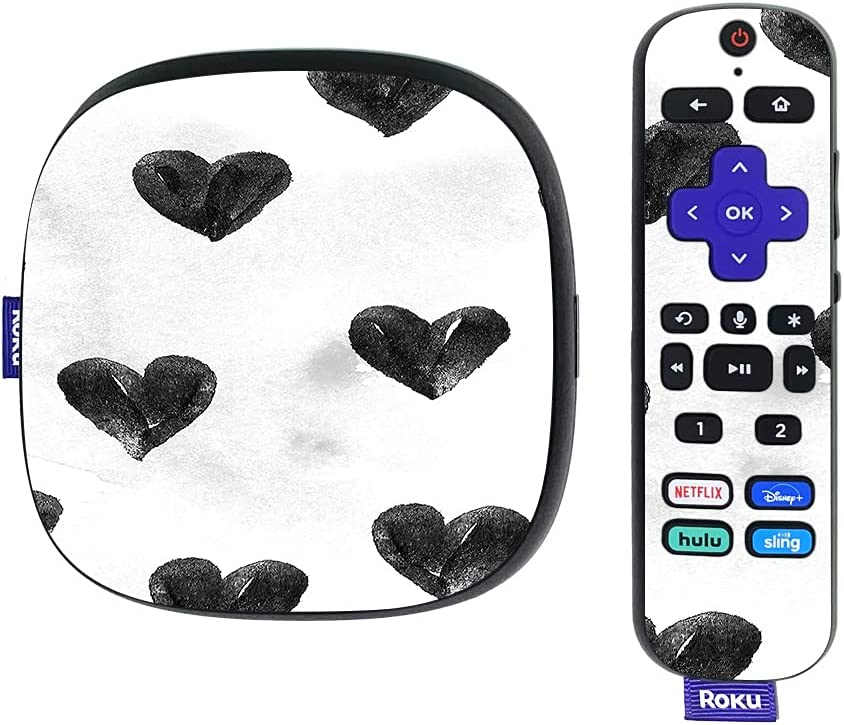 MightySkins Skin Compatible with Roku Ultra HDR 4K Streaming Media Player (2020) - Ink Hearts | Protective, Durable, and Unique Vinyl Decal wrap Cover | Easy to Apply | Made in The USA