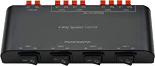 A ADWITS 4-Channel Speaker Switcher Selector Box with Terminal Claps 200W RMS Max 100W Switchable, Black