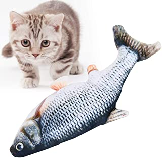 Electric Moving Cat Kicker Fish Toy, USB Rechargeable Simulation Wiggle Catnip Toys, Bouncing Stuffed Flopping Fish for Pe...