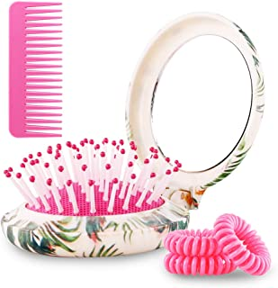 Black Egg Mini Travel Hair Brush Set Folding Pocket Size with Mirror Comb Hair Ties Detangler for Wet or Dry Hairfor All Types of Hair Gifts For Women Pink Summer Style