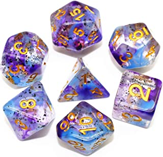 HD Dice DND RPG Polyhedral Dice Set for Dungeons and Dragons Pathfinder Role Playing Games Transparent Dice with Blue Purple Two-Tone Swirls & Black Granule Dice Group