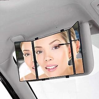 خودرو تاشو Visor Vanity آینه-Zone Tech آرایشی مسافرت لوازم آرایشی Tri -Fold جهانی آینه خودکار