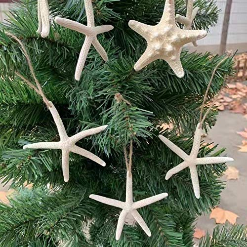 15 pcs Starfish Coastal Wedding and Hanging Starfish Christmas Tree Ornaments with Hemp Rope