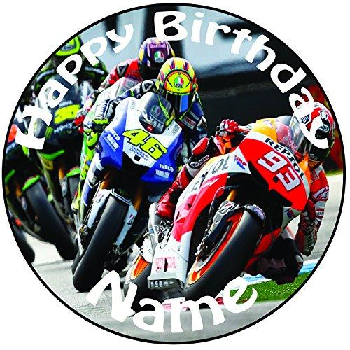 Personalisierter MotoGP Zuckerguss Kuchen Topper / Kuchendekoration - 20 cm Großer Kreis - Jeder Name Und Jedes Alter