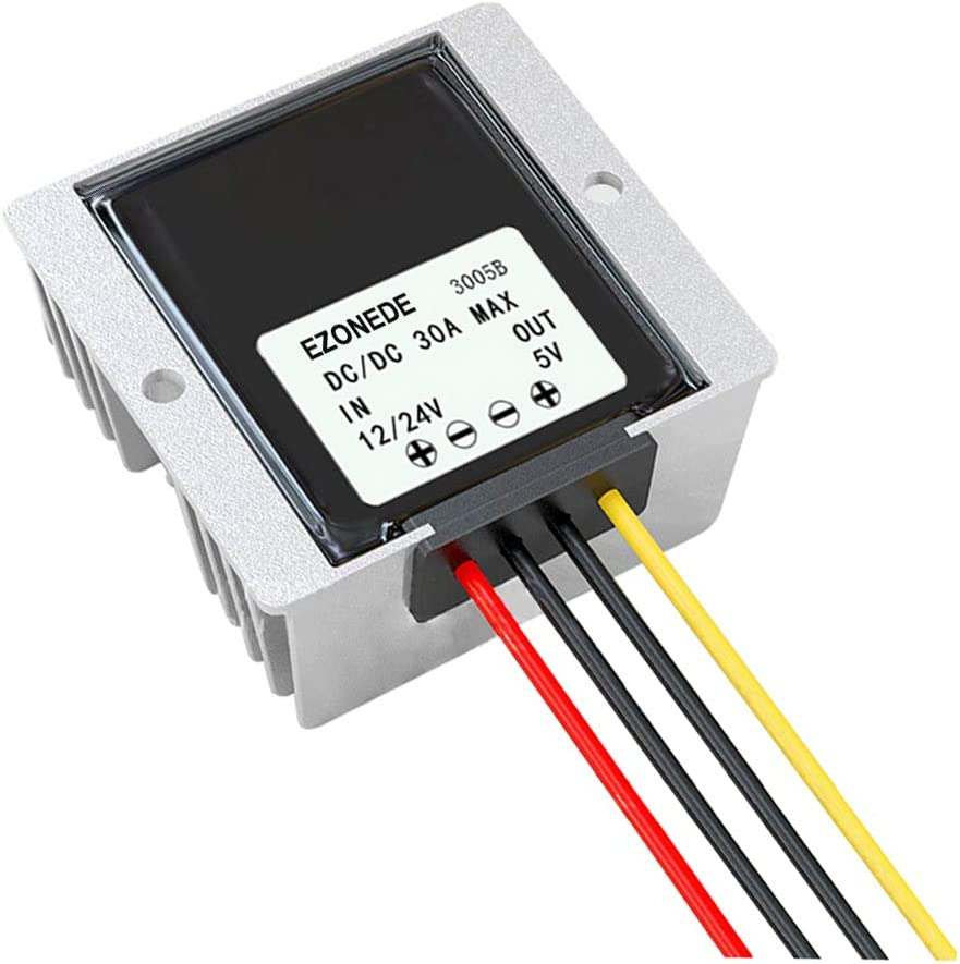 Stayhome 1PCS Waterproof 12V 24V to 5V 30A 150W Power Supply for LED Display DC-DC Step Down Converter DC Buck Module for Car Truck Forklift