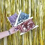 ZTMYZFSL Paquete de 2 cortinas 1m*2m metálicas de oropel, papel de aluminio, flecos, cortina, puerta, decoración de ventana para fiesta de bodas de cumpleaños de Navidad-Dorado (ZT-01)