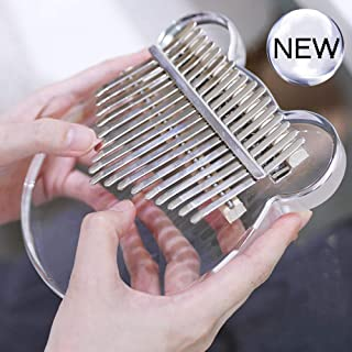 Clear Kalimba 17 Keys Thumb Piano, Portable Transparent Acrylic Mbira Wood Finger Piano, Musical Instrument Gifts for Kids Adult Beginners with Tuning Hammer and Study Instruction.