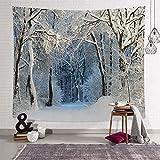 fangzhuo Weihnachts-Tapisserie Winter Wandteppich Schnee Baum Wandbehang für Schlafzimmer Wohnzimmer Party Wohnheim Deko W59 x L51