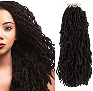 FASHION IDOL Nu Locs Crochet Hair 6 Bundles Faux Locs Crochet Hair Synthetic Natural Wavy 14 Inch Goddess Locs Crochet Dreadlock Extensions Hair Twist Braids Natural Black (1B)