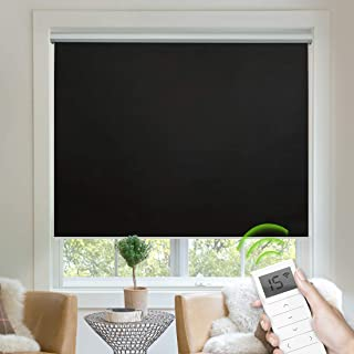 Yoolax Free-Stop Blackout Roller Shade Fabric Material Motorized Blind Cordless Remote Control Room Darkening Privacy Window Blind with Valance (Black)
