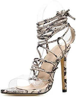 Stupmary Women Sandals Peep Toe Clear Ladies Gladiator Sandalias High Heels Cross-Tied Lace Up Pumps