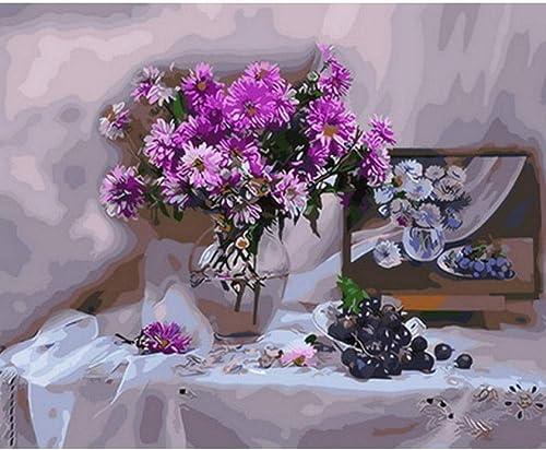 Waofe Peinture Par Numéros Bricolage Peinture à L'Huile Sur Toile Pour La Décoration Intérieure Peinture Animalière Violet Et Blanc- No Frame4