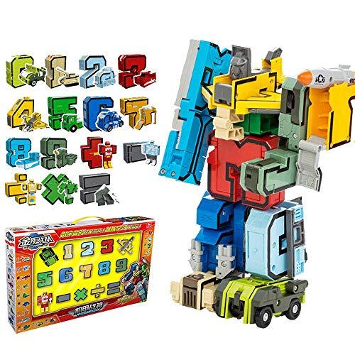 Volbaby 15 Pezzi Numeri Trasforma Robot Giocattoli da Costruzione Playset Apprendimento precoce STEM Giocattoli educativi Regalo per Bambini Ragazzi Bambini in età prescolare