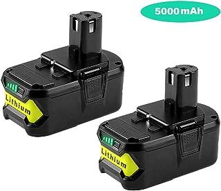 2Pack 5000mAh 18V P102 Replacement for Ryobi 18-Volt 18L50 Lithium Battery P103 P105 P107 P108 P109 Ryobi ONE+ Cordless Tool
