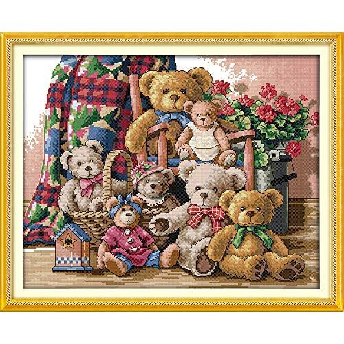 Amor Eterno De La Familia Del Oso Del Navidad De Algodón Ecológico Chinas Kits De Punto De Cruz Contado Estampan (Cross Stitch Fabric CT number : 11CT stamped product)