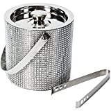Throwing a small backyard summer party? This stainless steel ice bucket will accent your table with style and practicality. Trendy ice bucket features easy pull off lid and metal tongs for ease of use and function.The lid seals well to keep the ice c...