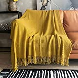 LOMAO Knitted Throw Blanket with Tassels Bubble Textured Lightweight Throws for Couch Cover Home Decor (Mustard Yellow, 50x60)
