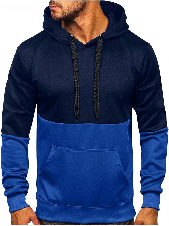 Hoodies for Mens Spring Autumn Slim Casual Patchwork Hooded Long-sleeve Sweatshirt Top Mens Hoodies & Sweatshirt Blouses
