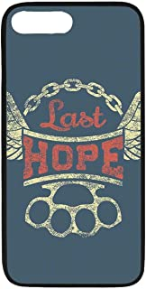 Vintage Rubber Phone Case,Grunge Label Wings Chain Brass Knuckles Last Hope Quote for Bikers Compatible with iPhone 8 Plus