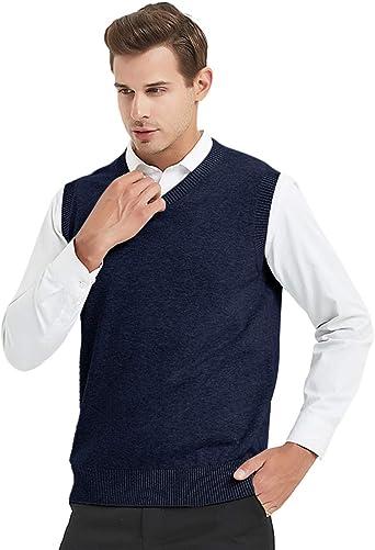 TopTie Jersey Sin Mangas de Punto para Hombre, Chaleco de Algodón con Cuello en V para Invierno, Color Sólido