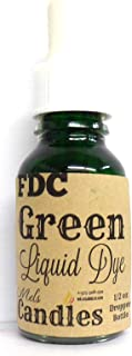 Mels Candles & More Half Ounce of Green FDC Dye- Dropper Bottle with Childproof Cap.