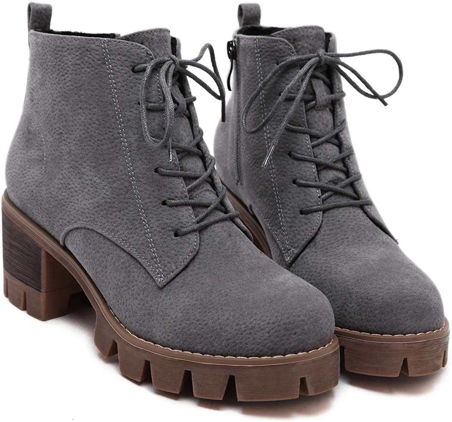 Sam Carle Women Boots, Solid color Lace Up and Zipper Round Toe Martin Ankle Boots