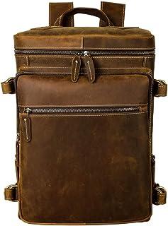 Men's Vintage Leather Casual School Outdoor Sport Case Travel 15.6 Inch Laptop Classic College Backpack Shoulder Bag Light Brown