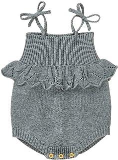 HUBA Baby Body ärmellos Strampler, Tanktop Jumpsuit Unisex Strick-Body für Kleinkinder Herbst Winter0-24 Monate