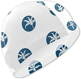 Oasws Boy/Girl Kids Swimming Cap, High Elasticity,Comfortable Swimming Bathing Cap for Short Hair and Long Hair, Stylized Palm Trees Blue Circled Style Seamless Vector Image
