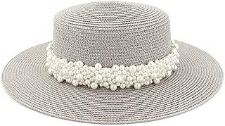 LiWen Zheng Women Travel Sun Hat Flat Top Hat Outdoor Travel Straw Holiday Pearl Weaving Belt Aristocratic Hat Beach Hat