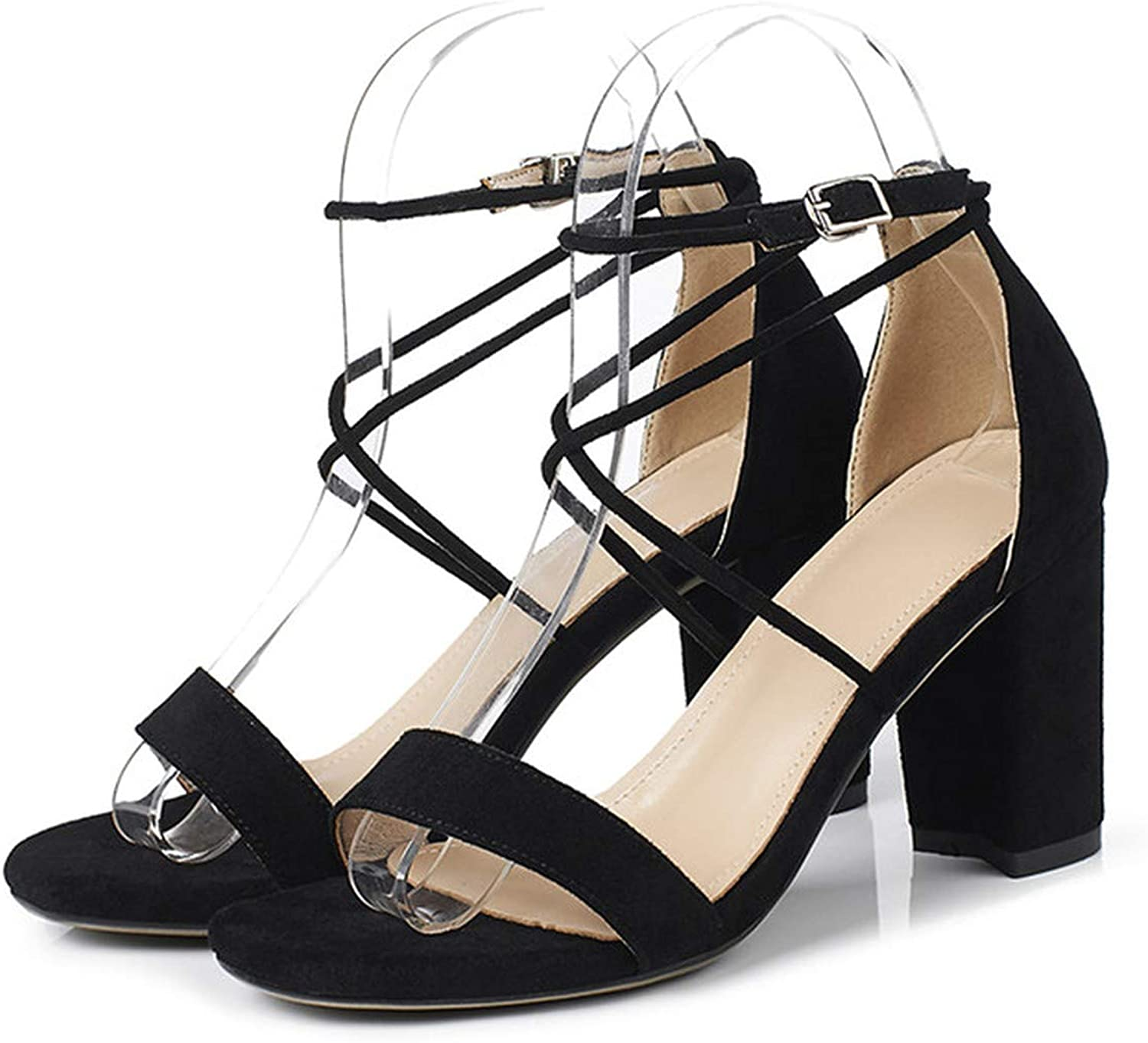 Summer Sandals Women shoes Cross-Tied Block High Heels shoes Sexy Buckle Open Toe Party Sandals,Black,8.5