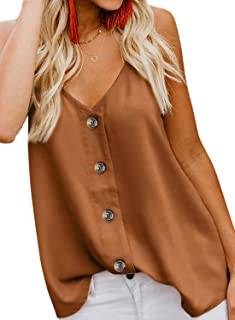 Women's Button Down V Neck Strappy Tank Tops Loose Casual Sleeveless Shirts Blouses