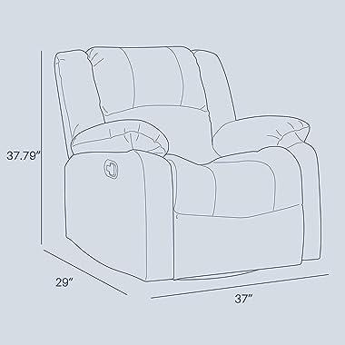 BELLEZE Faux Leather Rocker and 360 Degree Swivel Glider Recliner Overstuffed Armrest Backrest Living Room Chair (Brown)