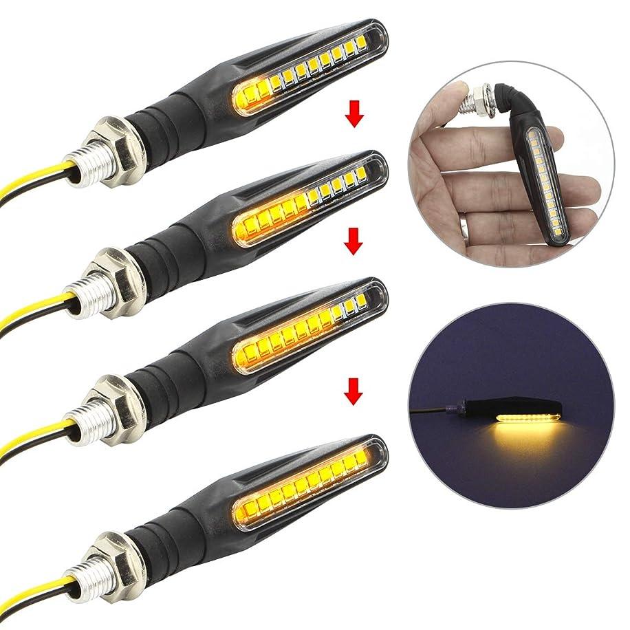 Upgraded 4Pcs Motorcycle Flowing Turn Signal Lights Universal Motorbike LED Turning Indicators Lamp Amber Light