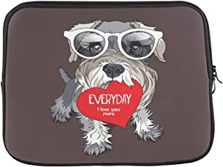 "Design Custom Schnauzer in A Glasses with Red Heart Valentines C Sleeve Soft Laptop Case Bag Pouch Skin for MacBook Air 11""(2 Sides)"