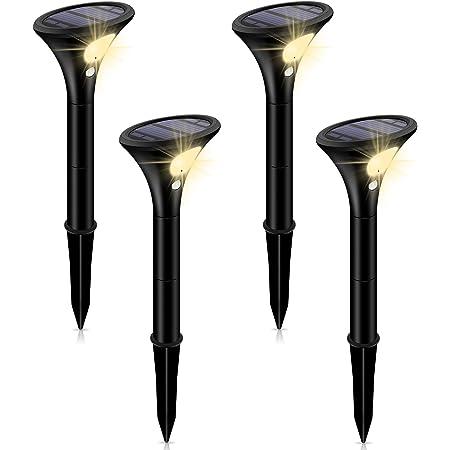 Leolee ガーデンライト 屋外 ソーラーライト スポットライト 二つモード 自動点灯 太陽光パネル充電 IP65防水 LEDライト モーションセンサー付き 取付簡単 高さ調整可能 防犯対策 ナイトライト (電球色4本入り)