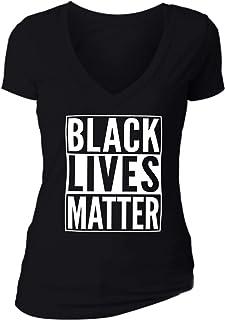 XtraFly Apparel Women's Black Lives Matter BLM America V-Neck Short Sleeve T-Shirt