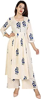 Home Tex Womens Cotton Kurti With Palazzo Pant Set