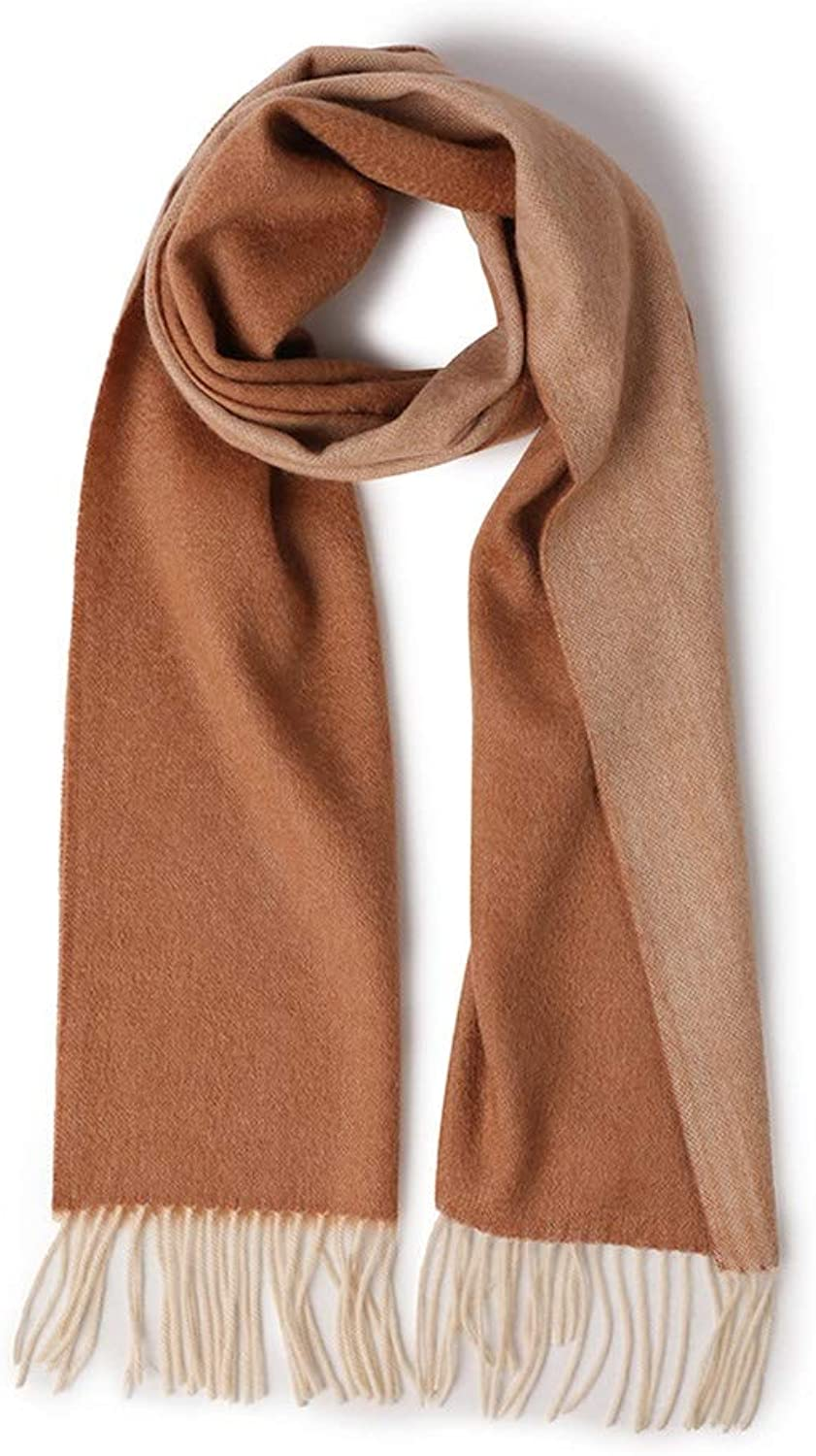 Wool Scarf Men and Women Couple Double Thick Wool Shawl Soft Autumn and Winter Warm Wild color Collar Scarf Cold Weather Scarves (color   Camel red, Size   One Size)