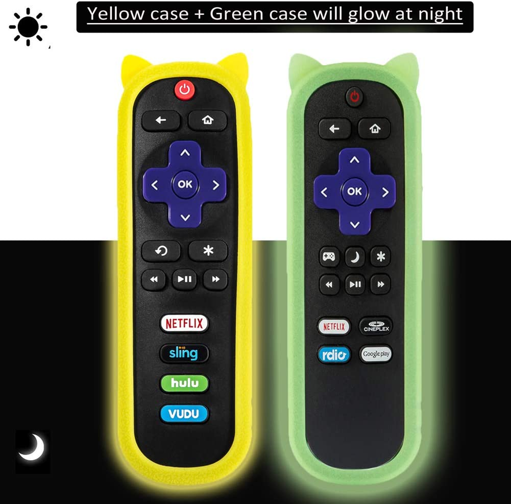 (2 Pack) Universal Protective Remote Case/Cover for Roku Streaming Stick 3600R/TCL/ONN/Sharp/Insignia/Hisense/Toshiba/LG/Hitachi Roku TV Remote, Shock Proof Silicone Remote Control Cover - Glow Case