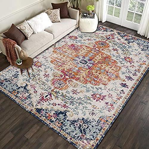 Alfombras regionales, étnicas bohemias alfombras para sala de estar, lavables, superantideslizantes para dormitorio, 6 patrones F25 – 200 x 250 cm