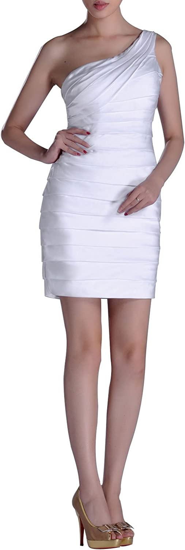 Adgoldna Women's Stretch SilkLike Satin One Shoulder Knee Length Dress