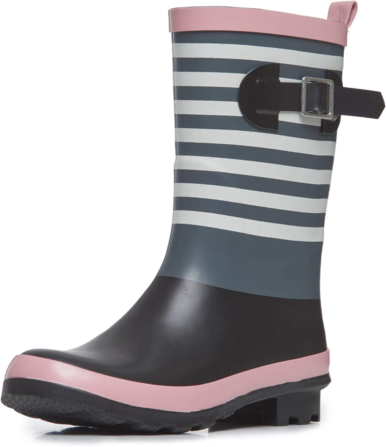 Laura Ashley Ladies High Cut Mid Calf Buckle Rubber Rain Boots, Lightweight Waterproof Booties for Women, Pink, Black and Blue Gray Stripes, 1