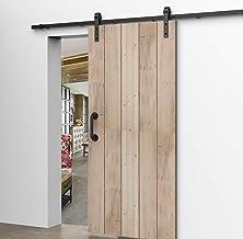 CCJH Schuifdeursysteem Voor Enkele Deur, Schuifdeursysteem buiten, met Punchless Vloer Shuifdeur Muurgeleider, 2 meter Rai...